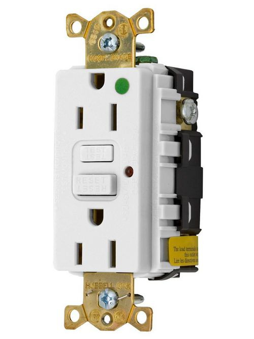 Hubbell Wiring Devices GFR8200HWLA 15 Amp 125 Volt 2-Pole 3-Wire NEMA 5-15R White GFCI Receptacle with LED Indicator