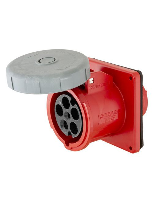 Hubbell Wiring Devices HBL5100R7W 100 Amp 277/480 Volt 4-Pole 5-Wire Red IEC Pin and Sleeve Receptacle