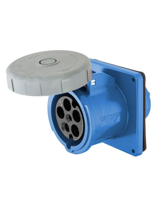 Hubbell Wiring Devices HBL5100R9W 100 Amp 120/208 Volt 4-Pole 5-Wire Blue Watertight IEC Pin and Sleeve Receptacle