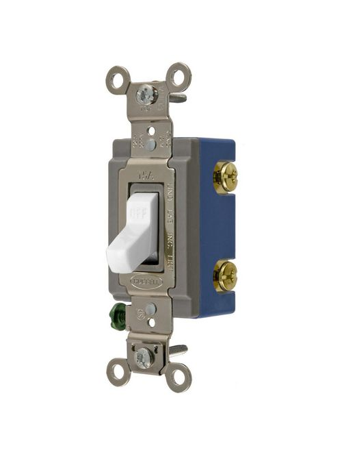 Hubbell Wiring Devices HBL1201W 120/277 Volt 15 Amp 1-Pole White Industrial Grade Toggle Switch