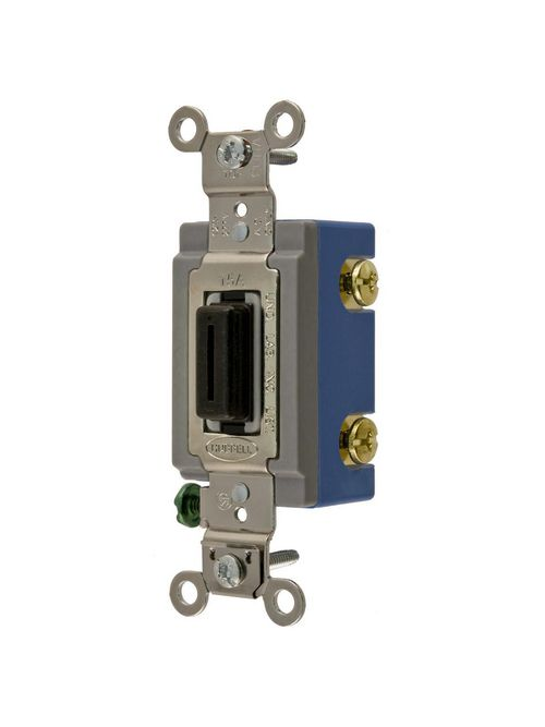 Hubbell Wiring Devices HBL1201L 15 Amp 120/277 VAC 1-Pole Black Locking Toggle Switch
