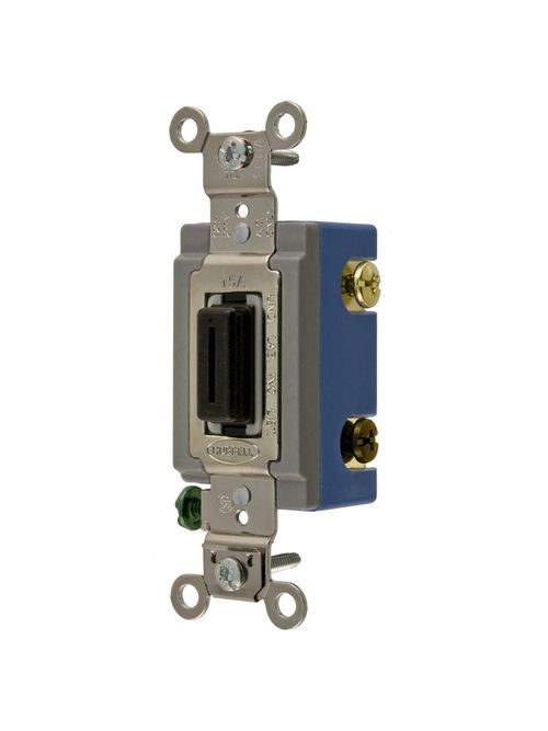 Hubbell Wiring Devices HBL1203L 15 Amp 120/277 VAC 3-Way Black Locking Toggle Switch