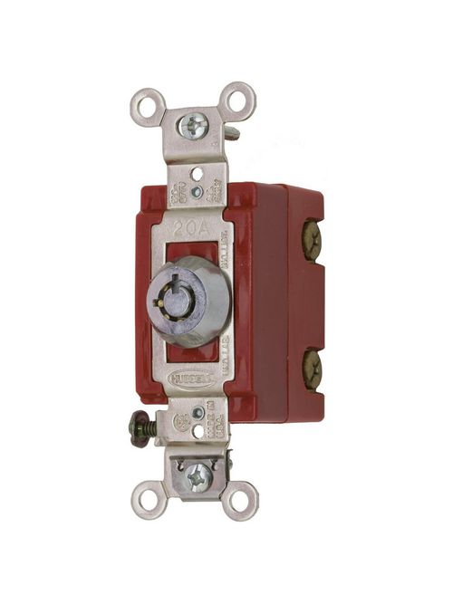 Hubbell Wiring Devices HBL1222RKL 20 Amp 120/277 VAC 2-Pole Chrome Locking Toggle Switch