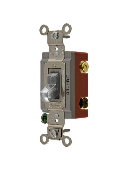 Hubbell Wiring Devices HBL1223ILC 20 Amp 120/277 VAC 3-Way Clear Toggle Switch