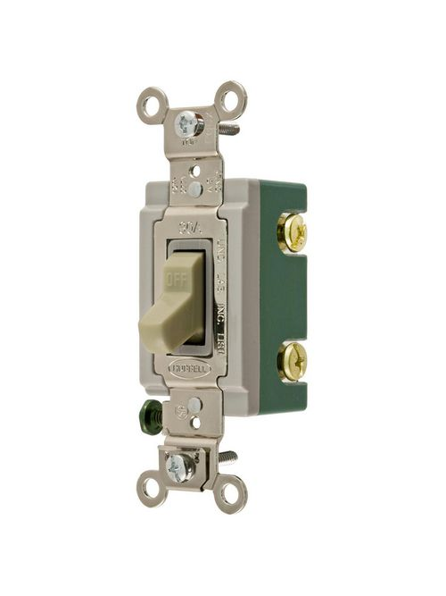 Hubbell Wiring Devices HBL3031I 30 Amp 120/277 VAC 1-Pole Ivory Toggle Switch