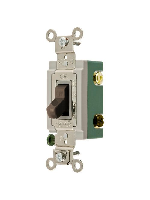 Hubbell Wiring Devices HBL3033 30 Amp 120/277 VAC 3-Way Brown Toggle Switch