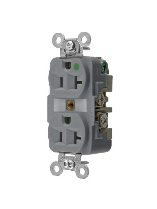 Hubbell Wiring Devices HBL8300GY 20 Amp 125 Volt 2-Pole 3-Wire NEMA 5-20R Gray Straight Blade Duplex Receptacle