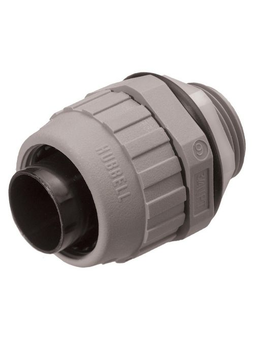 Hubbell Wiring Devices P050NGYA 1/2 Inch Gray Straight Male Non-Metallic Liquidtight Connector
