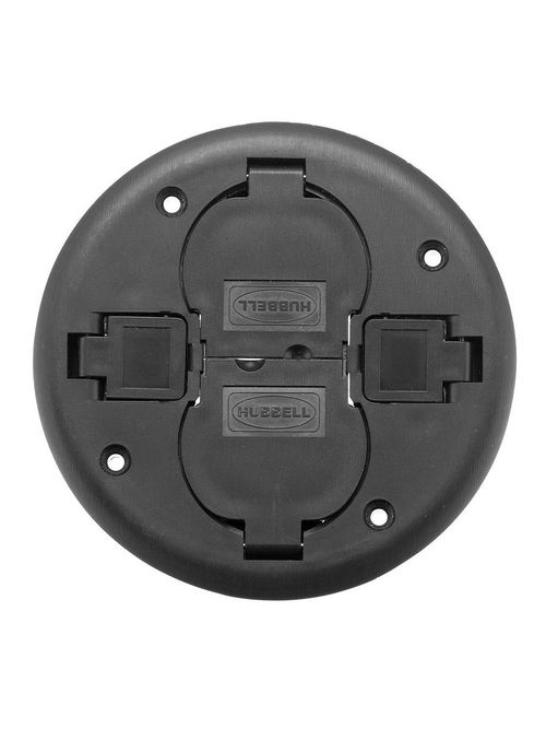 Hubbell Wiring Devices PT2X2CBL Black Non-Metallic 2 x 2 Fire Rated Poke-Through Flush Cover