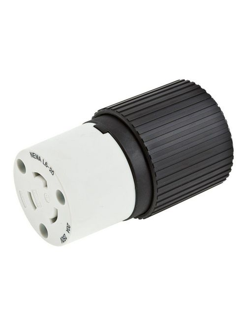 Hubbell Wiring Devices L620C 20 Amp 250 Volt 2-Pole 3-Wire NEMA L6-20R Black and White Locking Connector Body