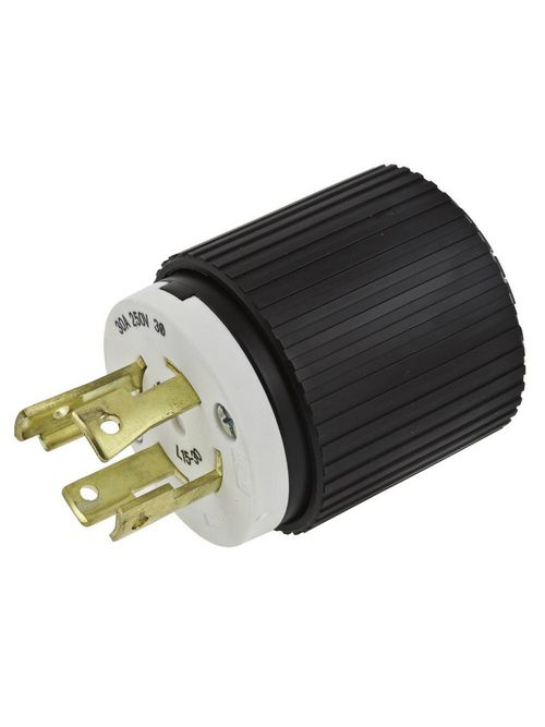 Hubbell Wiring Devices L1520P 20 Amp 3-Phase 250 VAC 3-Pole 4-Wire NEMA L15-20P Black and White Locking Plug