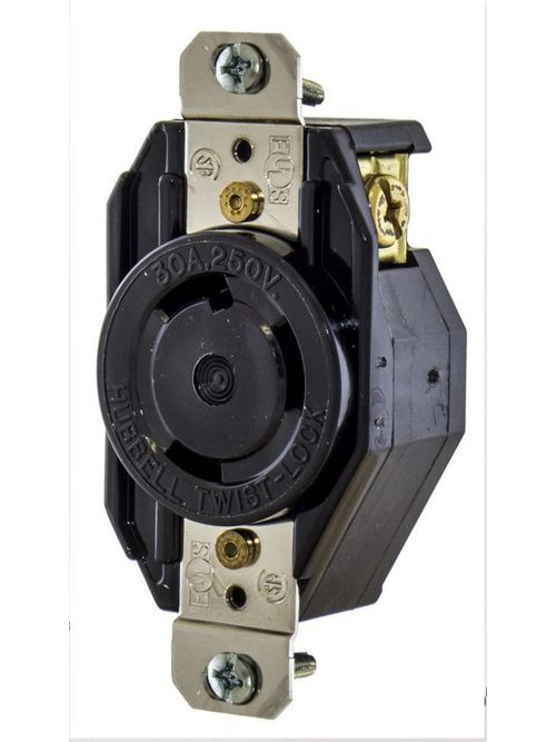 Hubbell Wiring Devices L630R 30 Amp 250 Volt 2-Pole 3-Wire NEMA L6-30R Black Locking Receptacle