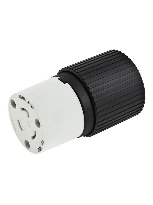 Hubbell Wiring Devices L630C 30 Amp 250 Volt 2-Pole 3-Wire NEMA L6-30R Black and White Locking Connector Body