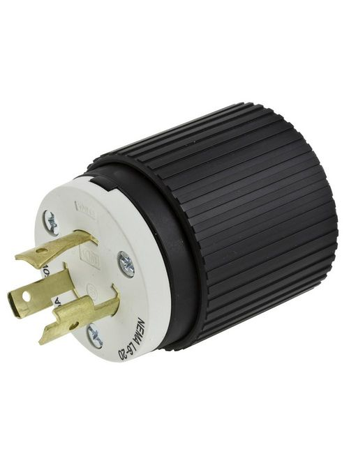 Hubbell Wiring Devices L630P 30 Amp 250 Volt 2-Pole 3-Wire NEMA L6-30P Black and White Locking Plug