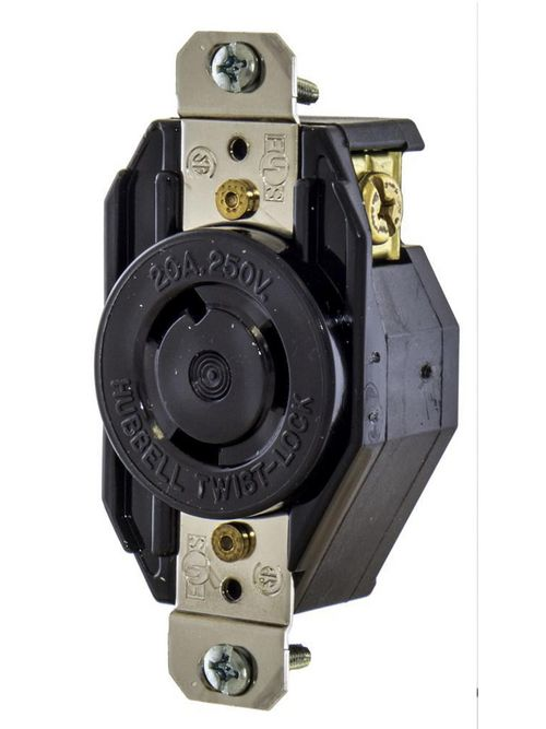 Hubbell Wiring Devices L615R 15 Amp 250 Volt 2-Pole 3-Wire NEMA L6-15R Black Locking Receptacle