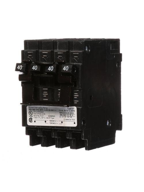 Siemens Industry Q24040CT2 2-Pole 40 Amp 120/240 VAC 10 kA Quadplex Circuit Breaker