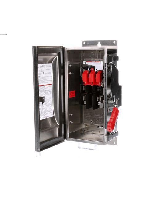 Siemens Industry HF221S 240 VAC/250 VDC 30 Amp 2-Pole 2-Wire NEMA 4/4X Heavy Duty Fusible Safety Switch