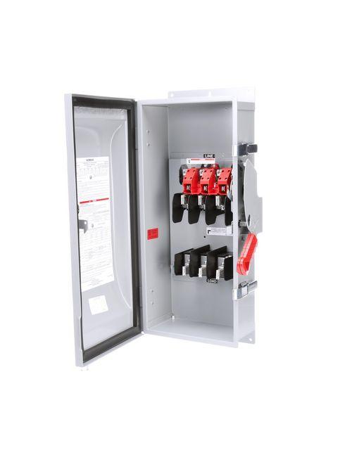 Siemens Industry HF363J 480/600 VAC 250/600 VDC 100 Amp 3-Pole 3-Wire NEMA 12 Heavy Duty Fusible Safety Switch