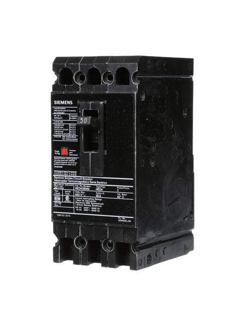 Siemens Industry HED43B050 480 Volt 50 Amp 42 kaic 3-Pole Circuit Breaker with LD Lug