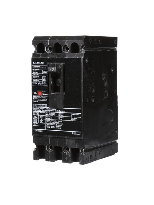 Siemens Industry HED43B070 480 Volt 70 Amp 42 kaic 3-Pole Circuit Breaker with LD Lug