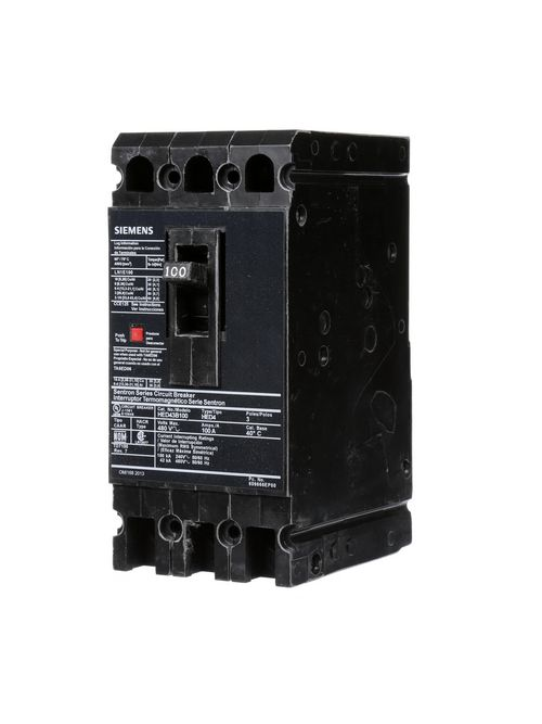Siemens Industry HED43B100 480 Volt 100 Amp 42 kaic 3-Pole Circuit Breaker with LD Lug