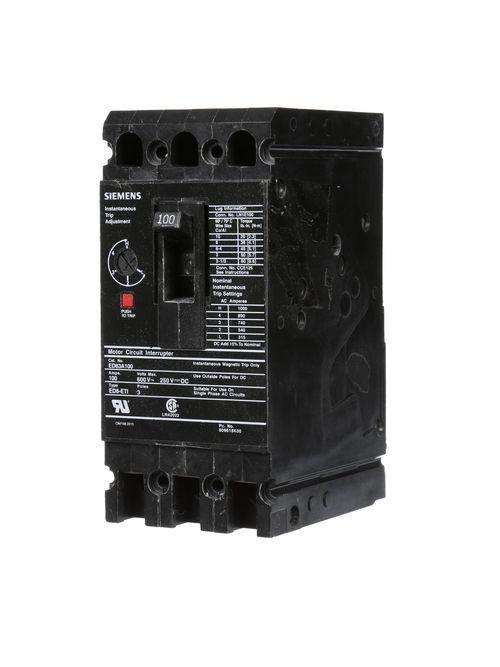Siemens Industry ED63A100 600 Volt 100 Amp 3-Pole Circuit Breaker with ETI Lugs