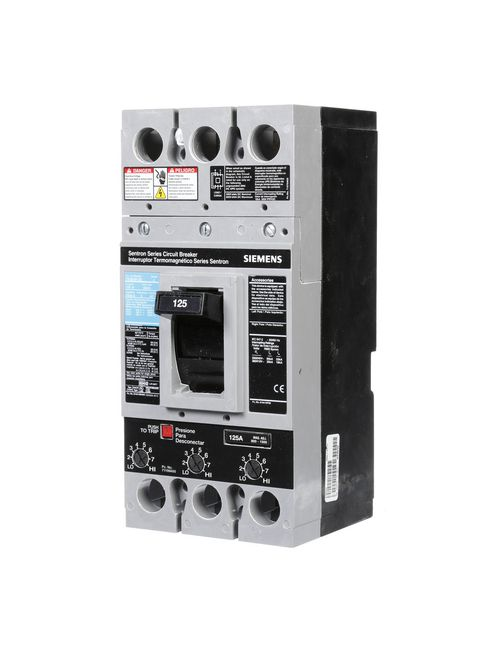 Siemens Industry FXD63B125 3-Pole 600 VAC 125 Amp 22 kA Non-Interchangeable Trip Thermal Magnetic Molded Case Circuit Breaker
