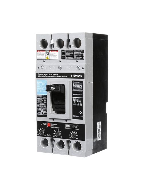 Siemens Industry FXD63B250 3-Pole 600 VAC 250 Amp 22 kA Non-Interchangeable Trip Thermal Magnetic Molded Case Circuit Breaker