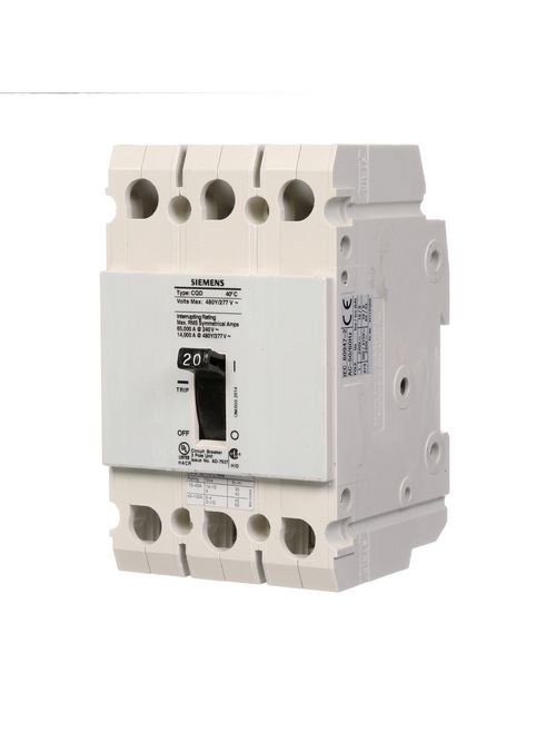 Siemens Industry CQD320 3-Pole 20 Amp 480 Star/277 VAC 14 kA Molded Case Circuit Breaker