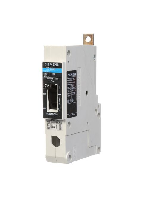 Siemens Industry NGB1B025B 25 Amp 14 kA 347 Volt 1-Pole Type NGB Molded Case Circuit Breaker with Load Lug