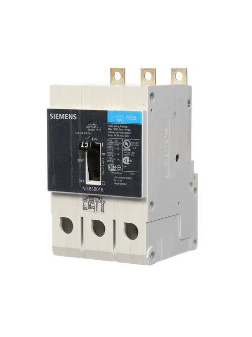Siemens Industry NGB3B015B 3-Pole 15 Amp 600 Volt 14 kA Molded Case Circuit Breaker