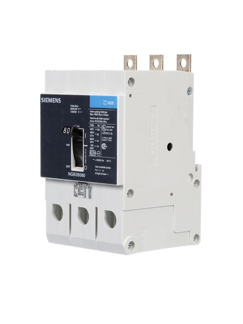Siemens Industry NGB3B080B 3-Pole 80 Amp 600 Volt 14 kA Molded Case Circuit Breaker