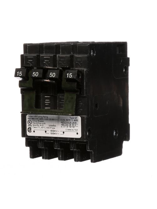 Siemens Industry Q21550CT2 2-Pole 15 Amp or 2-Pole 50 Amp 120/240 10 kA Circuit Breaker