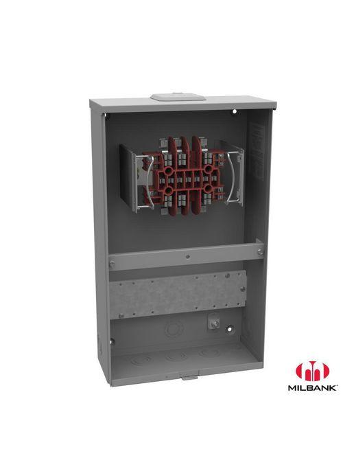 Milbank UC3423-XL 600 VAC 20 Amp 13-Terminal 3-Phase 1-Position Ringless Overhead/Underground Meter Socket