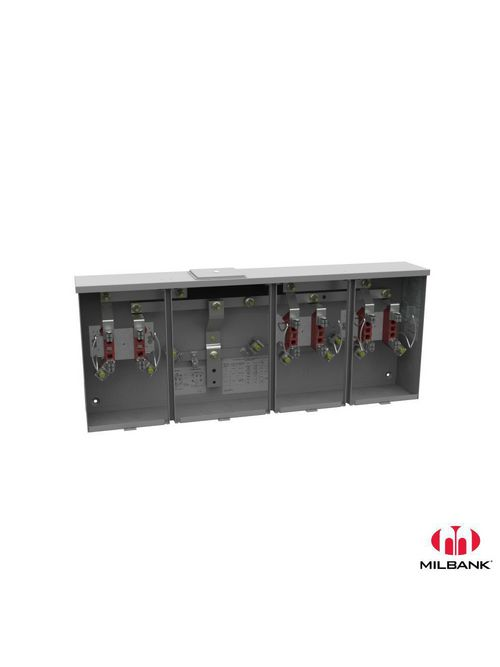 Milbank U1253-X-HSP 300 VAC 200 Amp 4-Terminal 1-Phase 3-Position Ringless Center Wireway Meter Socket