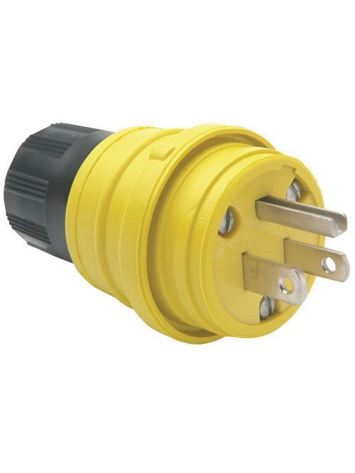 Pass & Seymour 14W-47 15 Amp 125 VAC 2-Pole 3-Wire NEMA 5-15P Yellow Rubber Polarized Straight Blade Plug