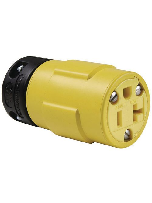 Pass & Seymour 1533 20 Amp 125 Volt 2-Pole 3-Wire NEMA 5-20R Yellow Rubber Polarized Straight Blade Connector
