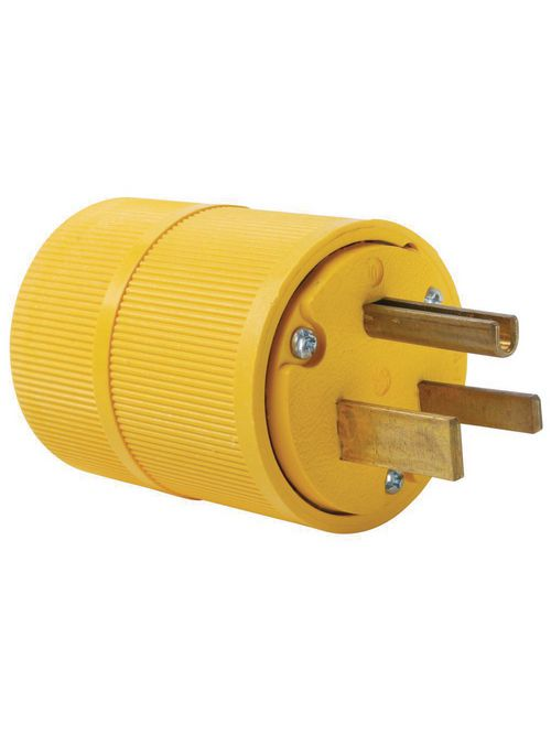 Pass & Seymour D0551 50 Amp 125 Volt 2-Pole 3-Wire NEMA 5-50P Yellow Straight Blade Power Plug