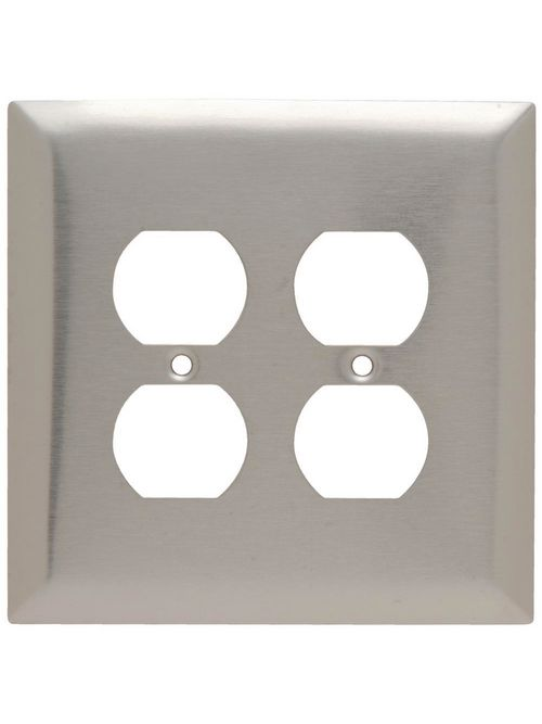 Pass & Seymour SSO82 2-Gang 2-Duplex Receptacle Smooth Brushed Stainless Steel Jumbo Wallplate