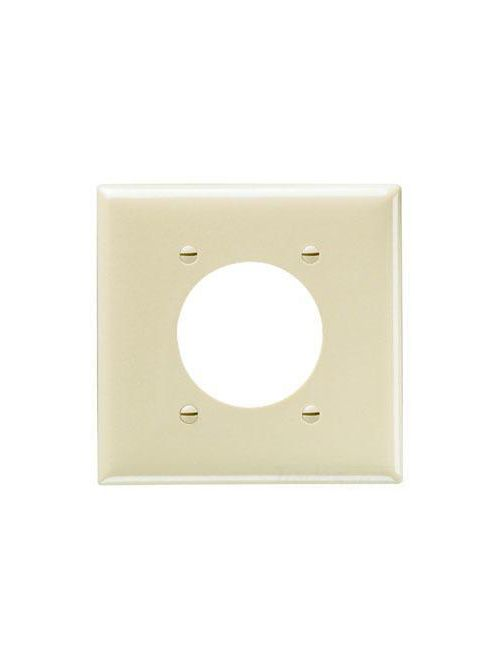 """Pass & Seymour SP703-W 2Gang Wall Plate, Power Outlet Receptacle, 2.1563"""" Hole, Standard - White"""