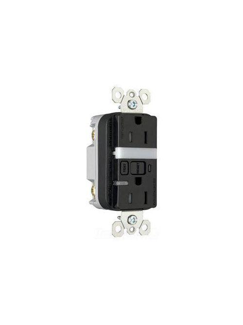 Pass & Seymour 1595-NTLTRBKCC4 15 Amp 125 VAC 2-Pole 3-Wire NEMA 5-15R Black Thermoplastic Night Light/GFCI Receptacle