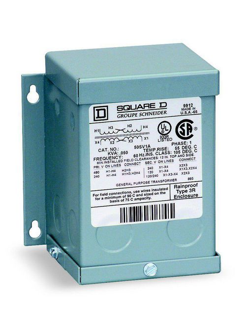 Square D 100SV46A 0.1 kVa 120 x 240 VAC Primary 16/32 VAC Secondary Dry Type Buck and Boost Transformer