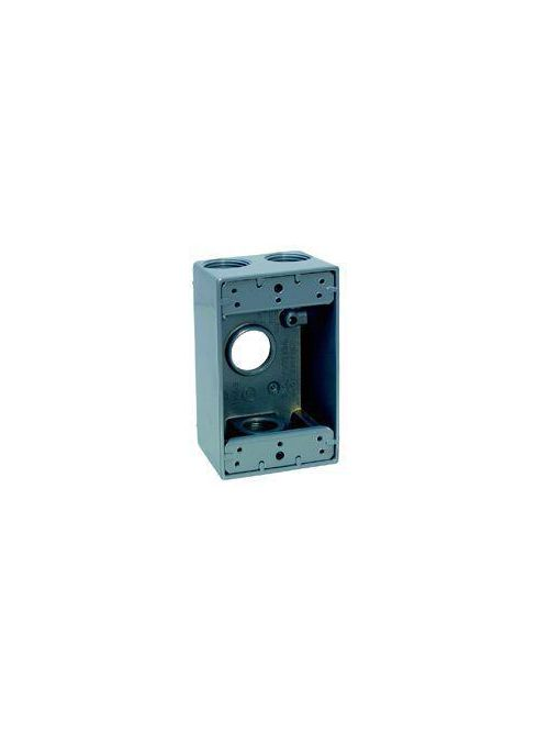 Crouse-Hinds Series TP7130 2-5/8 Inch Gray Die-Cast Aluminum 2-Gang Weatherproof Outlet Box