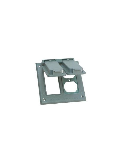 Crouse-Hinds Series TP7236 Gray Die-Cast Aluminum 1-Gang Self-Closing Weatherproof Outlet Box Cover with Gasket