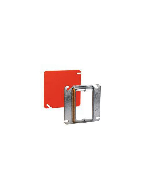 Crouse-Hinds Series TP528 4 Inch 1-1/2 Inch Raised Steel 1-Device Square Box Tile Wall Cover