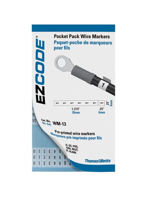 Thomas & Betts WM-0-45 Standard Wire Marker Book, Vinyl Cloth - 10 Markers each, 0 thru 45