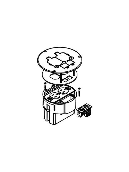 WLK 863DPCOM FLOOR BOX, DUPL REC, C