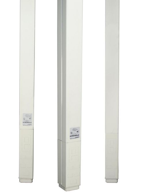 Wiremold 25DTC-412 5 Inch 12 Foot Ivory Steel Blank Vertical Drop Pole
