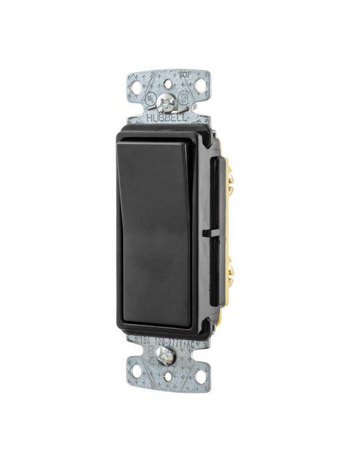 Hubbell Wiring Devices RSD115BK 15 Amp 120/277 VAC 1-Pole Black Rocker Switch