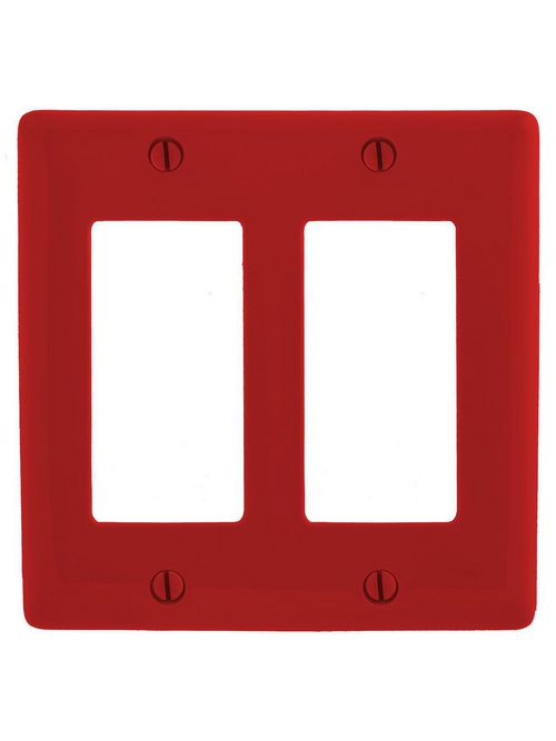 Hubbell Wiring Devices NP262R 2-Gang Red Nylon Decorator Switch Plate